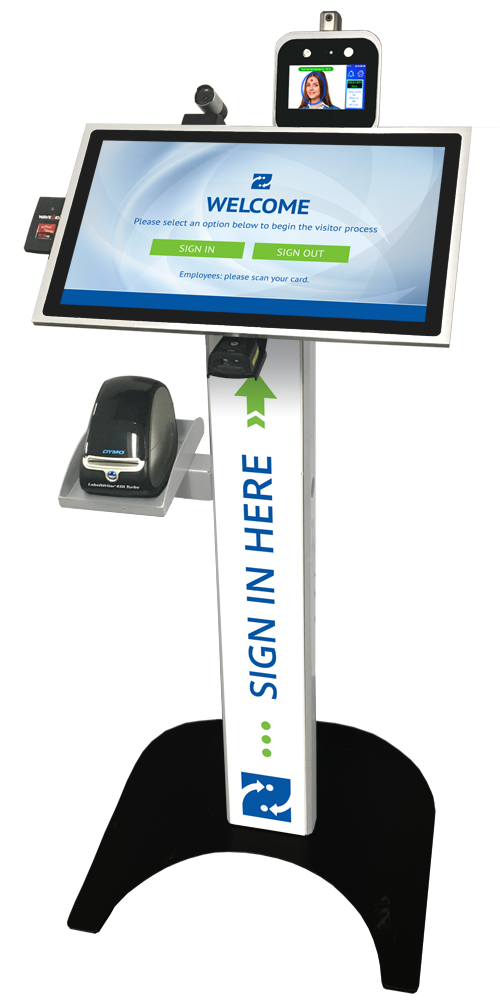 Visitor Management Kiosk with Temperature Scanner, Camera, Label Printer & Barcode Scanner